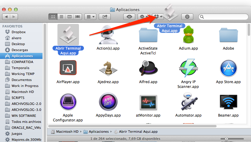 Se arrastra la app a la Toolbar del finder